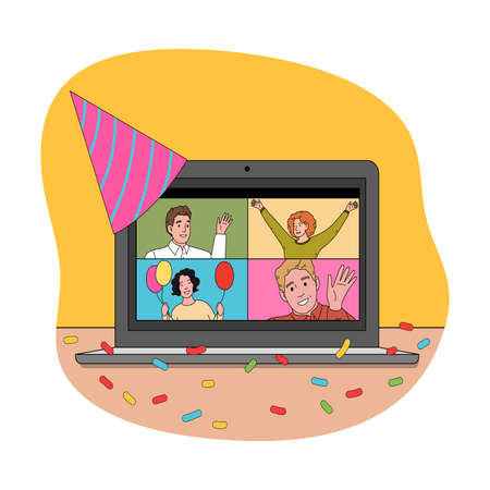 Screen of laptop with happy people celebrating holiday online