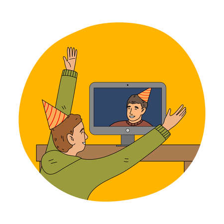 Happy boy in festive cap celebrating holiday online on laptop with friend