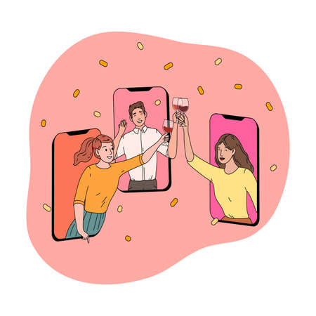 Smartphone screens with happy friends clinking glasses and celebrating holiday online Vettoriali