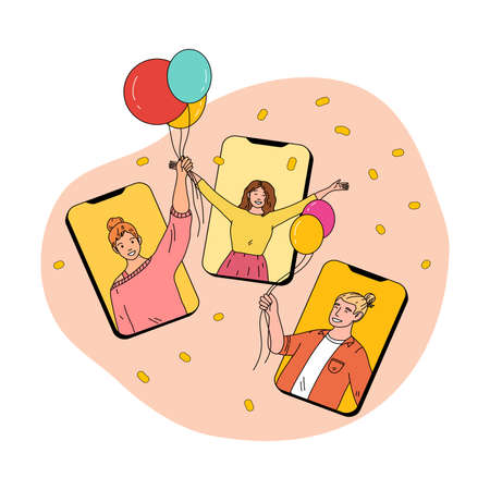 Smartphone screens with happy friends holding balloons and celebrating holiday online