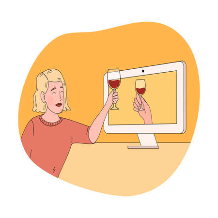 Smiling woman clinking glasses and celebrating holiday online with friend Vettoriali