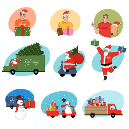 Couriers, Santa men and snowmen delivering holiday present for Christmas Vettoriali
