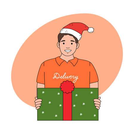 Smiling man courier in festive hat delivering holiday present for Christmas