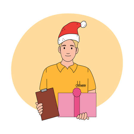 Man courier in festive hat delivering holiday present in box for Christmas
