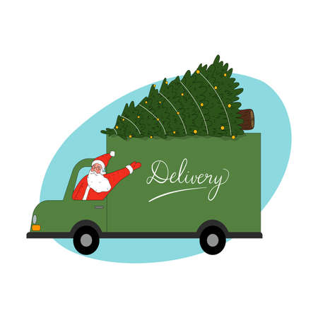Santa man courier in traditional red clothing delivering Christmas tree