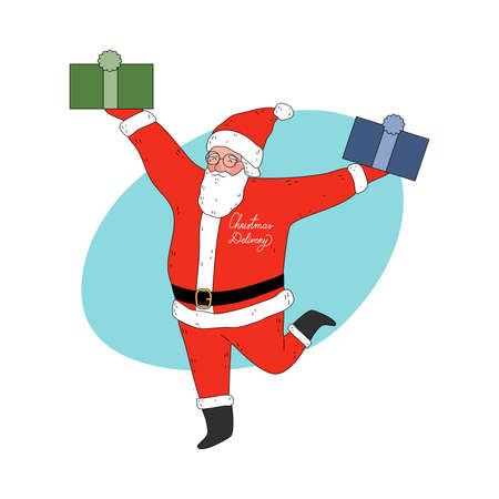 Santa man courier holding Christmas present boxes for delivery