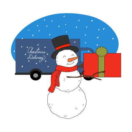 Snowman in hat and scarf holding Christmas present boxes for delivery
