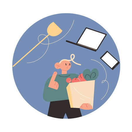 Man father carrying bags after shopping and thinking about work and housework Stock Illustratie