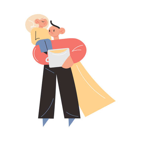 Happy young father in superhero costume carrying small daughter thinking about distant work