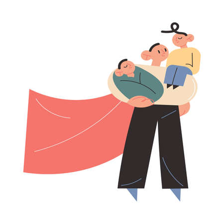 Father superhero carrying two children on hands and shoulders and feeling happy