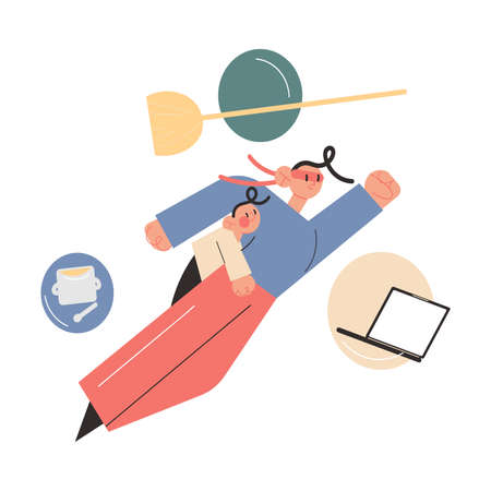 Father in superhero costume flying with child on body, thinking about housework, office work and feeding kid