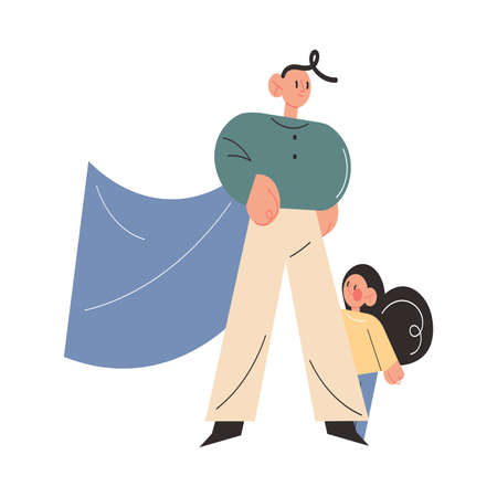Father in superhero costume standing and covering little daughter with big leg Vettoriali