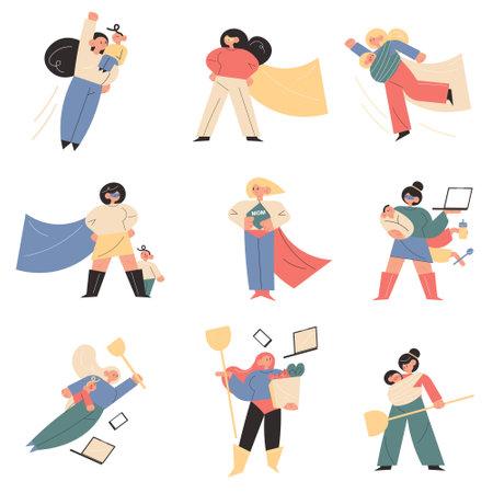 Young women mothers behaving like superhero with children Vettoriali