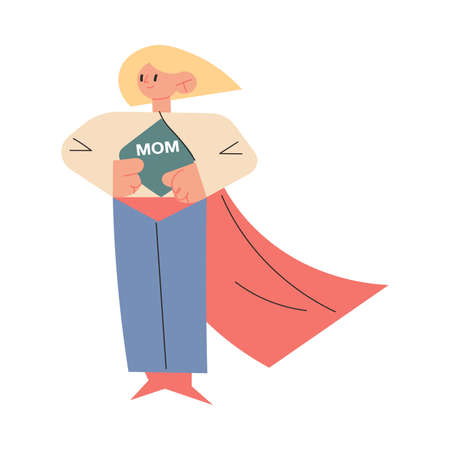 Mother in superhero costume standing and showing sign mom on chest