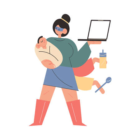 Woman mother superhero standing with baby, laptop, shopping bags and feeding tools