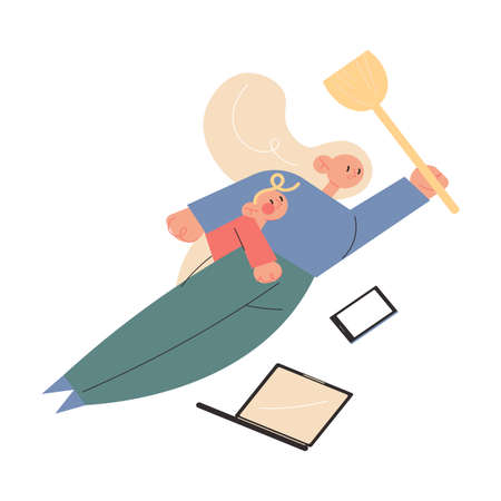 Mother superhero flying with small baby on body, working, doing cleaning at home in one moment