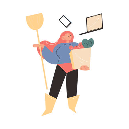 Mother superhero working, shopping and making housework in one moment