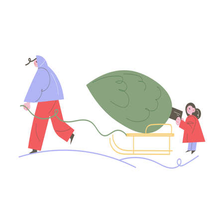 Happy woman and daughter carrying Christmas tree on sliders to home