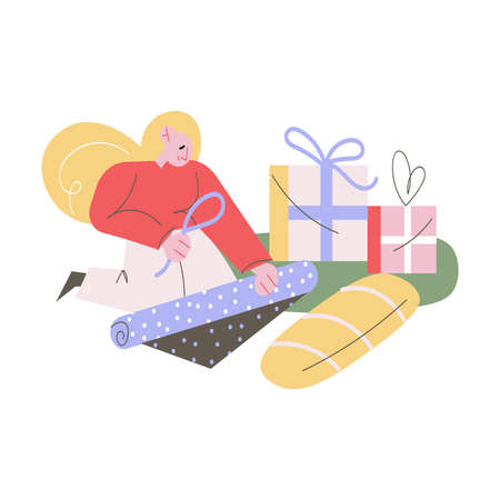 Happy woman sitting and decorating Christmas presents after shopping