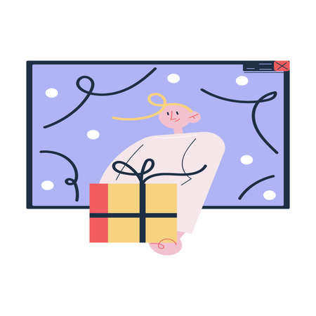 Laptop screen with happy man celebrating Christmas or New Year holiday and giving present online