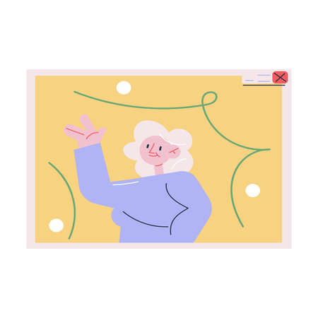 Laptop screen with happy woman greeting friend and celebrating Christmas or New Year holiday online