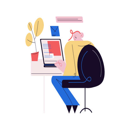 Young man sitting at desk and working as programmer Stock Illustratie
