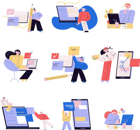 Young men and women office workers or freelancers working as web designers 矢量图像