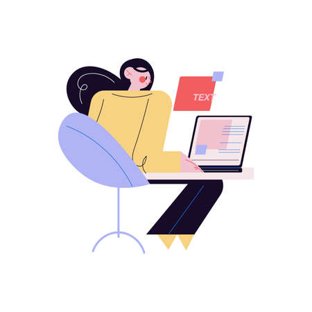 Young creative woman sitting at laptop and working as web designer