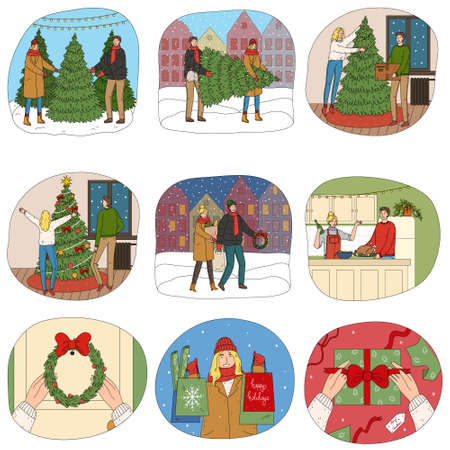 Happy people buying presents, decorating home, carrying shopping bags Christmas for winter holidays Stock Illustratie