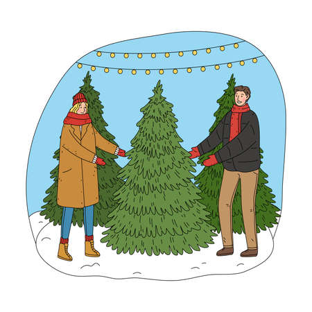 Young happy couple choosing Christmas tree for home decoration Stock Illustratie