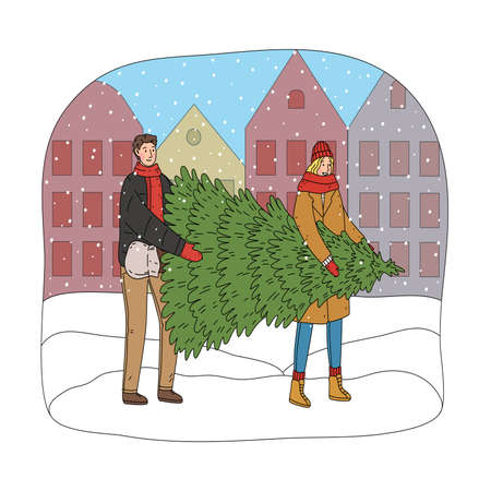Young happy couple carrying green Christmas tree for home decoration