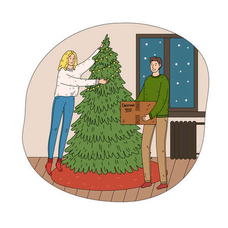 Young happy couple decorating green Christmas tree with toys Vettoriali