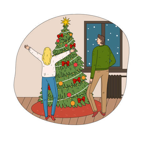 Young happy couple feeling excited near decorated Christmas tree at home Stock Illustratie