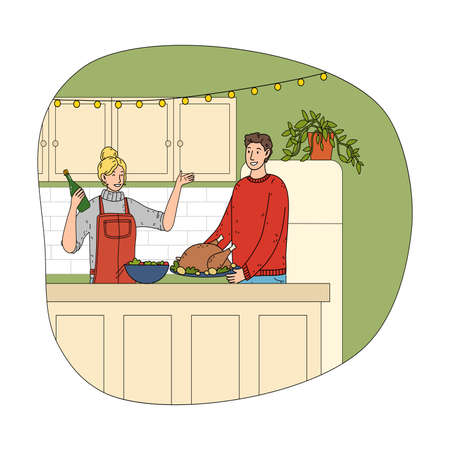 Young happy couple cooking chicken and opening champagne during Christmas Stock Illustratie