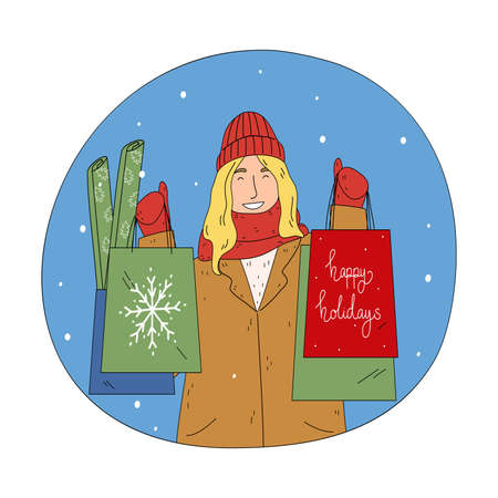 Young happy woman holding shopping bags with food and presents