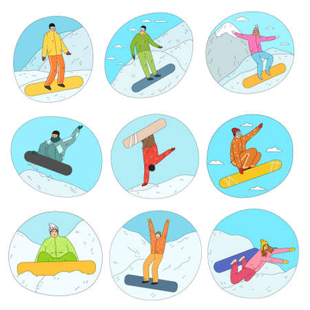 Young women and men in winter sportswear practicing snowboarding on snow
