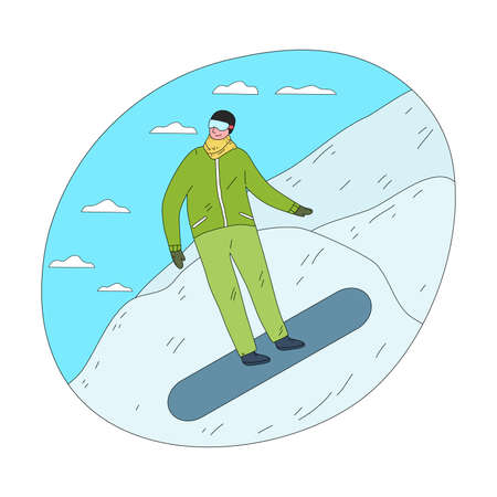 Man in green winter sportswear and mask sliding down practicing snowboarding
