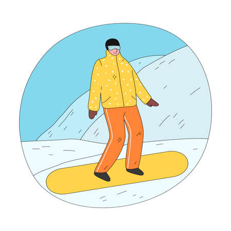 Young happy man in yellow winter sportswear and glasses practicing snowboarding