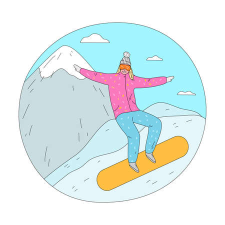 Woman in pink winter sportswear and mask enjoying ride practicing snowboarding