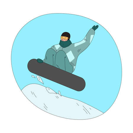 Man in dark green winter sportswear and mask jumping and practicing snowboarding 矢量图像