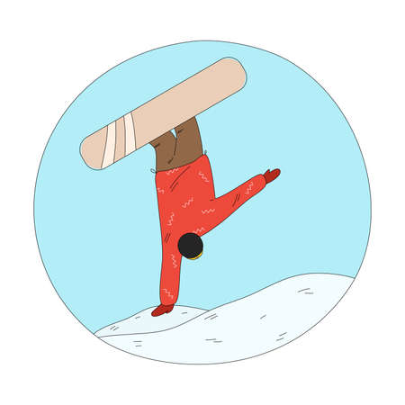 Man in red winter sportswear jumping during freeride and practicing snowboarding