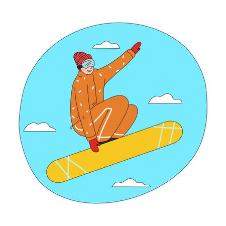 Young happy man in orange winter sportswear jumping during snowboarding