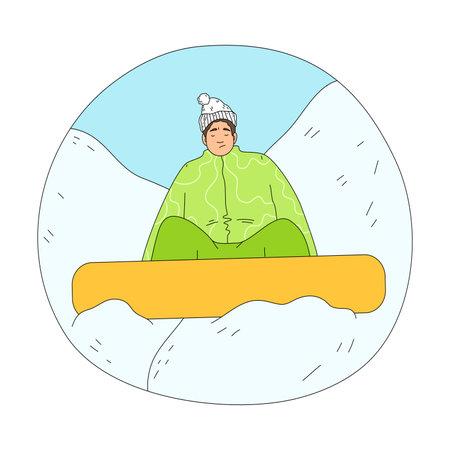 Man in green winter sportswear falling during practicing snowboarding