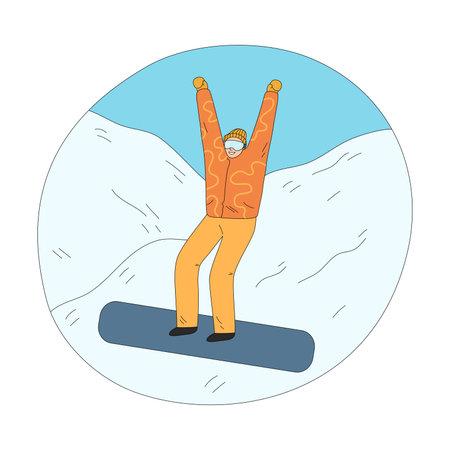 Man in orange winter sportswear feeling cheerful downhill during snowboarding