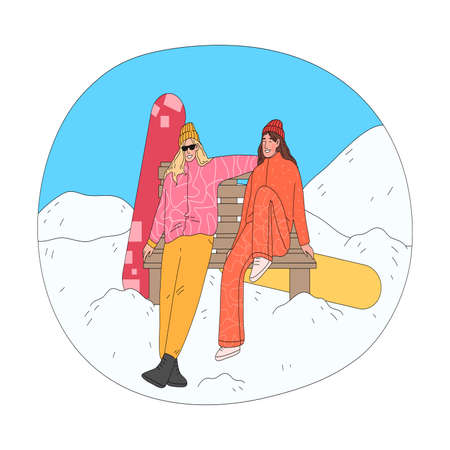 Girls sitting on bench and enjoying landscape taking rest after practicing snowboarding Vettoriali