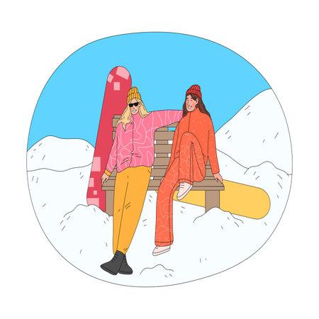 Girls sitting on bench and enjoying landscape taking rest after practicing snowboarding 矢量图像