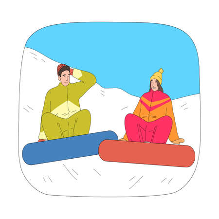 Happy couple sitting on snow and relaxing after successful practicing snowboarding