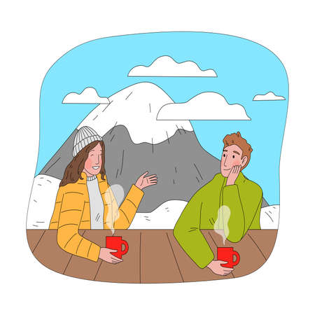 Happy couple sitting drinking hot tea and chatting after practicing snowboarding