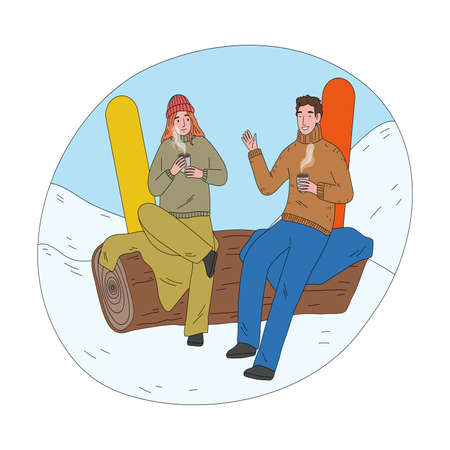 Happy couple sitting and drinking hot tea after successful practicing snowboarding