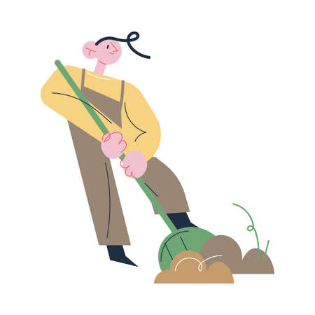 Man gardener in working clothes digging ground with showel